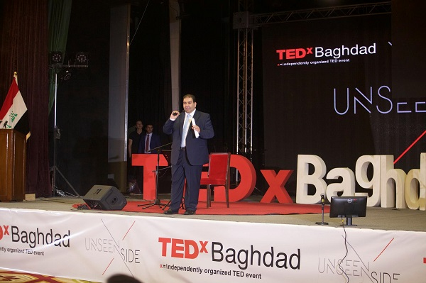 Tedxbaghdad President givining his speech on 2015 conference's stage